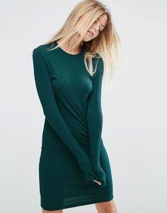 Long sleeved tee dress in dark green.