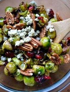 Pan-Seared-Brussels-Sprouts-with-Cranberries-Pecans #best recipe to try.  Try this recipe with Superberries fresh-frozen aroniaberries.