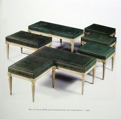 Set of Louis XVI-Style Banquettes and Tabourets, c. 1965 Jansen Furniture