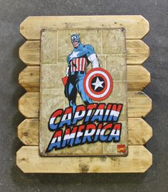 Captain America Retro Metal Poster Framed in Distressed Pinewood by ArtMaxAntiques on Etsy