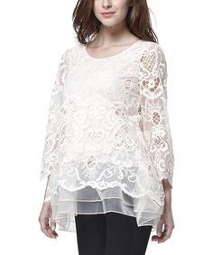 Another great find on #zulily! Pink Sheer Crochet Ruffle-Hem Tunic - Plus by Simply Couture #zulilyfinds