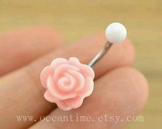Pink Rose Belly Ring ~