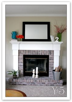 Black- and White- washed brick makeover! cute cute cute