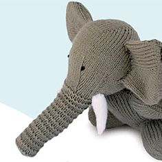 "Grab this free knitting pattern via """"Knitted Wild Animals"" Yarn and elephants can't go wrong :) Knitting Yarn, Free Knitting, Baby Knitting, Animal Knitting Patterns, Crochet Patterns, Knit Or Crochet, Crochet Toys, Knitting Projects, Crochet Projects"