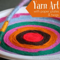 Yarn Art Craft with Twigs and Paper Plates--If your child is too young for the paper plate version of our yarn art, they might enjoy wrapping twigs or sticks. That can also be a lot of fun, and a great way to develop co-ordination and fine-motor skills. Toddlers can have fun making simple designs on paper with their yarn, or large designs on the ground.