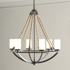 Birch Lane™ Heritage Anita Shaded Classic / Traditional Chandelier with Rope Accents Beach Chandelier, Beach Lighting, Chandelier Shades, Chandelier Lighting, Nautical Lighting, Candle Chandelier, Lighting Sale, Chandeliers, Filter