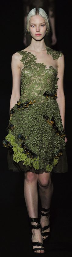 Why is she so unhappy? This Alberta Ferretti RTW F/W 2015 gown is simply a work of art!