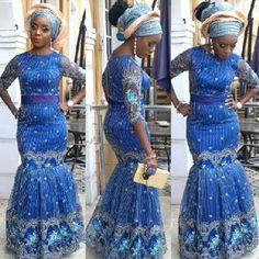 Creative Blue Lace Gown Style http://www.dezangozone.com/2015/08/creative-blue-lace-gown-style.html - Ankara Design ~African fashion, Ankara, kitenge, African women dresses, African prints, Braids, Nigerian wedding, Ghanaian fashion, African wedding ~DKK