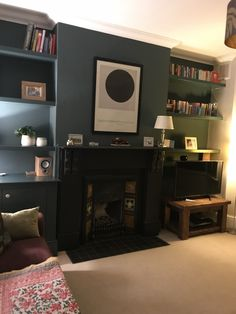 Dark fireplace with bold grey walls give a warm wintry feeling Living Room Storage, Living Room Chairs, Home Living Room, Living Room Decor, Living Spaces, Dining Room, Victorian Terrace Interior, Victorian House Interiors, Victorian Living Room