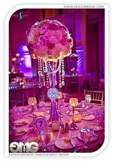 Center pieces for a wedding done at the Westin Colonnade in Coral Gables. All uplighting & entertainment done by EMG.  @DiscoverEMG
