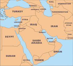 Mapa Asia medio oriente político
