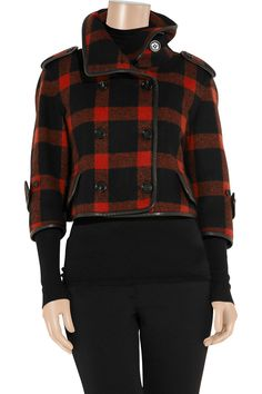 Plaid cropped wool-blend coat by Burberry Prorsum; color: intense red