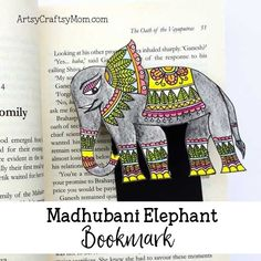 You need only basic art supplies to make this beautiful Madhubani Elephant Bookmark. Perfect for Ganesh Chathurthi or Elephant Appreciation Day.