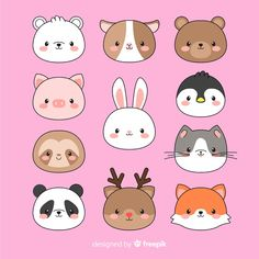 Hand drawn kawaii animal faces collection Free Vector Hand drawn kawaii animal faces collection Free Vector The post Hand drawn kawaii animal faces collection Free Vector appeared first on Animal Bigram Ideen. Cute Easy Drawings, Cute Kawaii Drawings, Cartoon Drawings, Animal Drawings, Griffonnages Kawaii, Arte Do Kawaii, Doodles Kawaii, Tier Doodles, Cute Kawaii Animals