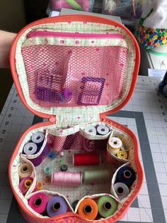 Penelope changed up the lining for her Crimson and Clover train case. I love how she used mesh pockets to store her threads! The Crimson and Clover train case pattern includes instructions for 3 sizes and is available as a PDF+video. We also sell optional acrylic templates for this pattern.