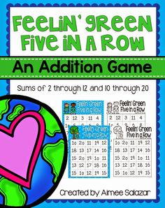 Five in a Row: A Game for Practicing Addition Facts {April} Addition Facts, Math Addition, Addition And Subtraction, Math Story Problems, Word Problems, Five In A Row, Math Vocabulary, School Fun, School Stuff