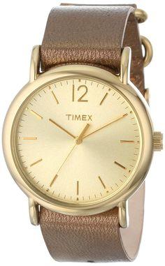 Amazon.com: Timex Women's T2P3409J Weekender Metallic Bronze Slip-Thru Leather Strap Watch: Clothing