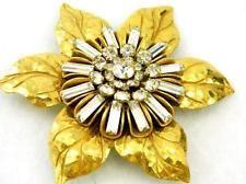 Vintage Miriam Haskell Russian Gold Gilt Baguette Rhinestone Flower Brooch Pin