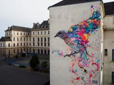 Street art by - In Vannes, France I really like this street art because it's colourful and a bird design. I really like bird artwork, so I think this is beautiful. Graffiti Art, Murals Street Art, 3d Street Art, Street Art Utopia, Street Artists, Art Public, Urbane Kunst, Street Magic, Urban Painting