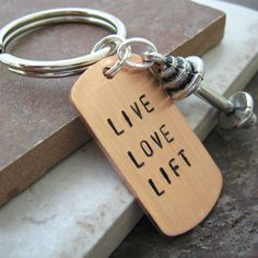 Live Love Lift BARBELL Keychain, pewter barbell charm, weight lifting, fitness, exercise, working out, body building, personal trainer gift on Etsy, $14.95