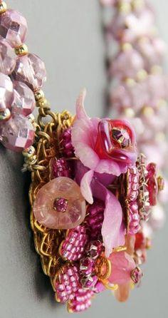 Stanley Hagler - Parure 'Fleurs et Orchidée' - Perles de Verre et Strass Rose - Perles à Facettes Rose Métallisé