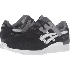 Onitsuka Tiger by Asics Gel-Lyte III (Black/Soft Grey) Athletic Shoes (€73) ❤ liked on Polyvore featuring shoes, athletic shoes, black, black leather athletic shoes, kohl shoes, leather lace up shoes, leather shoes and laced shoes