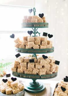 Rustic meets shabby chic blue and white themed real wedding...love this rice krispie square three tiered display.