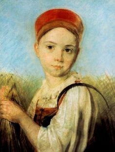 Венецианов Алексей Гаврилович (1780 - 1847) «Крестьянская девушка с серпом во ржи»