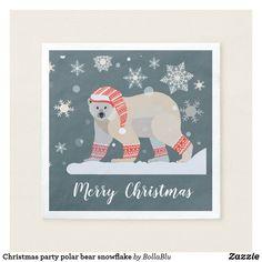 Shop Christmas party polar bear snowflake napkins created by BollaBlu. Christmas Paper Napkins, Corner Designs, Cloth Napkins, Cocktail Napkins, Polar Bear, Snowflakes, Merry Christmas, Santa, Holiday