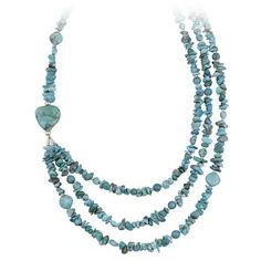 """Sterling Silver and Turquoise Nugget 3 Row Necklace, 20+3"""" Extender Amazon Curated Collection. $50.00. Made in Thailand. The natural properties and composition of mined gemstones define the unique beauty of each piece. The image may show slight differences to the actual stone in color and texture."""