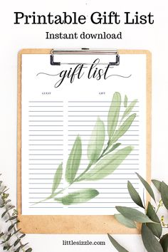 Gift List printable Greenery by LittleSizzle. Take notes to remember who gave each gift by using a gift list. Use this greenery gift list to not only keep track of the gifts, but to create a cherished keepsake to enjoy for years to come. The printable gift list is perfect for a baby shower, bridal shower or birthday party. Simply download and print in just minutes. #giftlistprintable #giftlist #greeneryparty #giftlistbabyshower #giftlistbridalshower #greenerypartyideas #giftlistideas Printable Bridal Shower Games, Baby Shower Printables, Baby Shower Themes, Baby Shower Invitations, Shower Ideas, Baby Shower Gift List, Baby Shower Fall, Gender Neutral Baby Shower, Shower Gifts