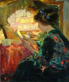 The Fashion Review. Ulisse Caputo (Italian, 1872-1948). Oil on canvas. Interested in light and its painted representation, Caputo was receptive to the ideas issued by a new generation of international impressionist artists such as Zuloaga, Zorn and Whistler. The influence of Impressionism lightened the rather dark palette brought from Naples.