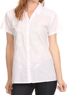 Sakkas Vinataey Long Floral Embroidered Short Sleeve Collar Button Down Shirt Top * Don't get left behind, see this great  product : Plus size shirts