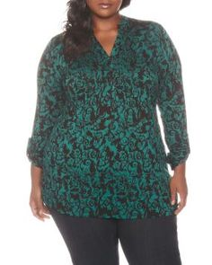 Long Sleeve Printed Pintuck Top at Penningtons - very striking on me in person in the green, not as impressive in the plum colour!