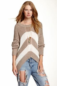 Asymmetrical Striped Sweater by Love Stitch on @HauteLook