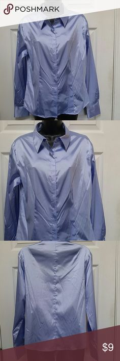 Kathy Ireland Blue Button Down Shirt Lovely blue button shirt. In good wearable condition. Feels a little like satin.  Size L. Made from 95% polyester and 5% spandex Kathy Ireland Tops Button Down Shirts