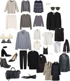 Minimal + classic: capsule wardrobe, from wide eyed legless. Capsule Wardrobe, Capsule Outfits, Fashion Capsule, Work Wardrobe, Winter Wardrobe, Wardrobe Ideas, Professional Wardrobe, Travel Wardrobe, Wardrobe Basics