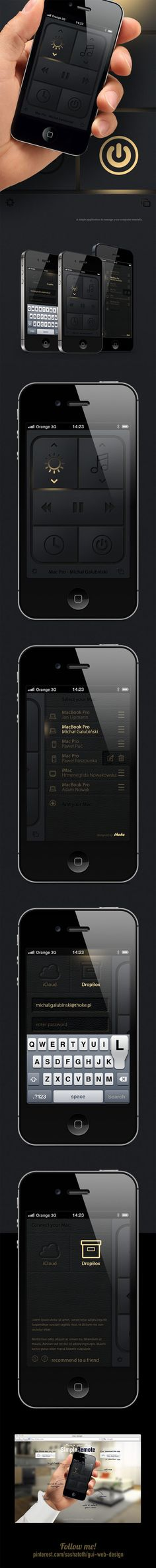 Simple mac remote (Concept) by Michal Galubinski, via Behance *** A simple application to manage your computer remotely.