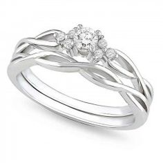 Inexpensive Half Carat Round Diamond Infinity Wedding Ring Set In White Gold Men Bands