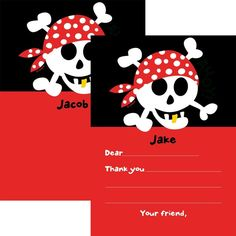 Check out Pirate Birthday Personalized Thank You Note - Custom Thank You Cards & Party Supplies from Birthday In A Box