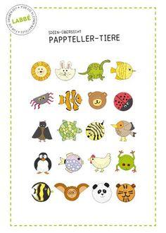 """Pappteller-Tiere, 20 Ideen zum Basteln von Tieren aus einfachen Papptellern aus der Reihe """"Recycling-Ideen""""."""