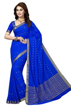 BLUE CHIFFON SAREE WITH WEAVING WORK Wedding Sari, Indian Wedding Outfits, Indian Outfits, Wedding Reception, Half Saree Lehenga, Saree Blouse, Reception Sarees, Chiffon Saree, Traditional Sarees
