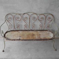 - love this patina vintage benchZsaZsa Bellagio. - love this patina vintage bench Iron Furniture, Garden Furniture, Garden Seating, Garden Benches, Balcony Garden, Wrought Iron Bench, French Country Cottage, Vintage Iron, French Decor