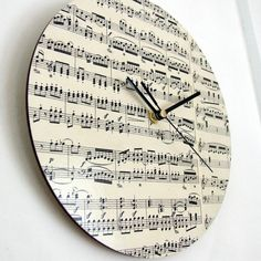 Handmade Circular Vintage Music Clock by remadePAPERWORKS on Etsy, $51.00