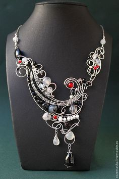 Red, Black and White Necklace ♡