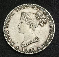 Italian States Coins Parma 5 Lire Silver Coin, Marie Louise of Austria, minted in 1815. Italian coins, Italian Coinage, Italian silver coins, Numismatic Collection, Coins of Italy best silver coins for investment.
