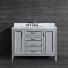Lovely Ove Decors Daniel Grey Undermount Single Sink Bathroom Vanity With Natural  Marble Top (Common: X Actual: 48