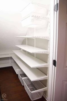 How to Organize a Closet Under the Stairs & Pantry Organization Ideas IKEA ALGOT shelves in a closet under the stairs organisieren ideen Shelves Under Stairs, Closet Under Stairs, Stair Shelves, Staircase Storage, Basement Storage, Closet Shelves, Closet Storage, Under Stairs Pantry Ideas, Understairs Closet