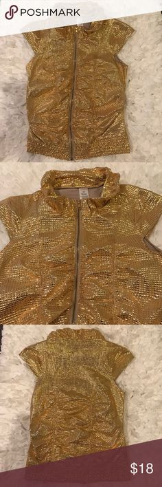 NWOT Weissman Gold Tone Top NWOT Stunning Gold Tone Top By Weissman. Size:Small. Great for the holidays, New Years, night out, club! Pairs great with just even jeans & boots! Color is gold with gold sequence but the sequence is printed on top so u won't be missing any. Bra friendly short sleeves. Ruffle neck line. Gold tone zipper closure. Banded Stretch hem. 84% Polyester. 16% spandex. Hand wash. Hang dry. NO TRADES. WEISSMAN Tops