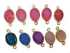 24 kt. Gold Plated Bezel Druzy Connectors  full by finegemstone, $50.00